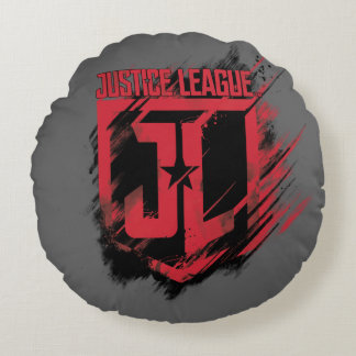 Justice League | Brushed Paint JL Shield Round Cushion