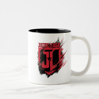 Justice League | Brushed Paint JL Shield Two-Tone Coffee Mug