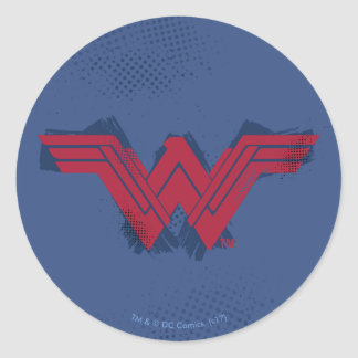 Justice League | Brushed Wonder Woman Symbol Classic Round Sticker
