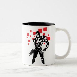 Justice League | Cyborg Digital Noir Pop Art Two-Tone Coffee Mug