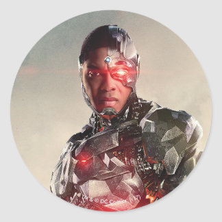 Justice League | Cyborg On Battlefield Classic Round Sticker