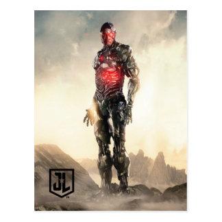 Justice League   Cyborg On Battlefield Postcard