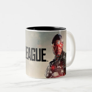 Justice League | Cyborg On Battlefield Two-Tone Coffee Mug