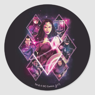 Justice League | Diamond Galactic Group Panels Classic Round Sticker