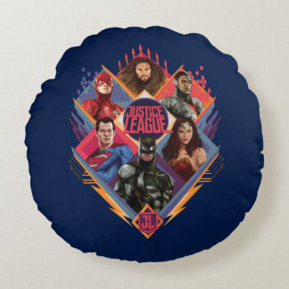 Justice League | Diamond Hatch Group Badge Round Cushion