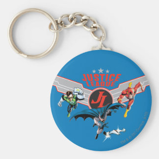 Justice League Flying Air Badge and Heroes Basic Round Button Key Ring
