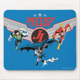 Justice League Flying Air Badge and Heroes Mouse Pad