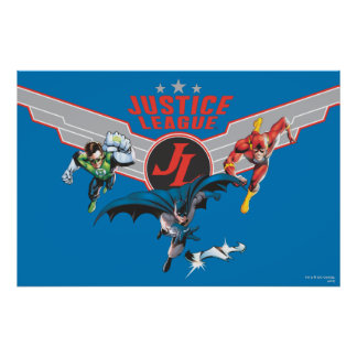 Justice League Flying Air Badge and Heroes Poster