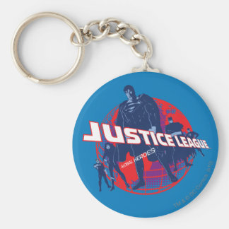 Justice League Global Heroes and Globe Basic Round Button Key Ring