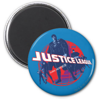 Justice League Global Heroes and Globe 6 Cm Round Magnet