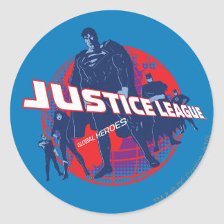 Justice League Global Heroes and Globe Round Sticker