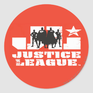 Justice League Logo and Character Silhouettes Classic Round Sticker