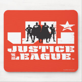 Justice League Logo and Character Silhouettes Mouse Pad