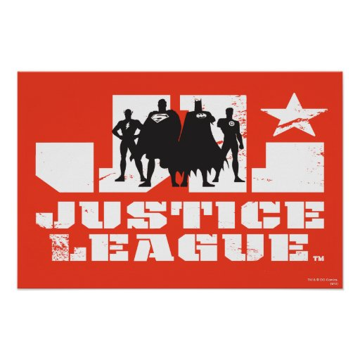 Justice League Logo and Character Silhouettes Posters