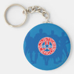Justice League Logo and Solid Character Background Basic Round Button Key Ring