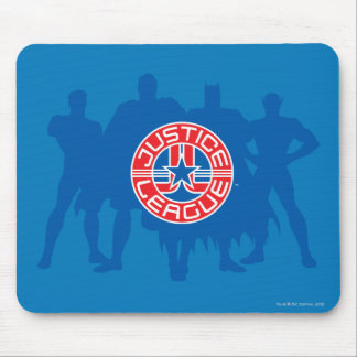 Justice League Logo and Solid Character Background Mouse Pad