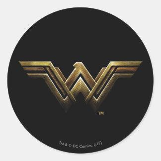 Justice League   Metallic Wonder Woman Symbol Classic Round Sticker
