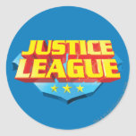 Justice League Name and Shield Logo Round Sticker
