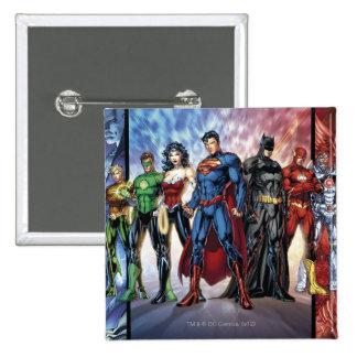 Justice League | New 52 Justice League Line Up 15 Cm Square Badge