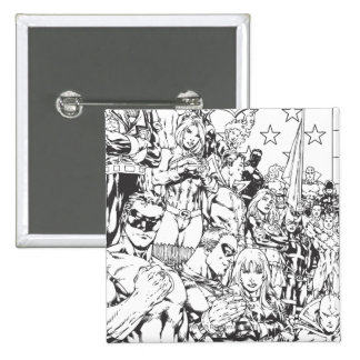 Justice League of America First Issue B/W 15 Cm Square Badge