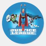 Justice League Power Trio Round Sticker