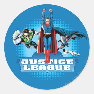 Justice League Power Trio Round Stickers
