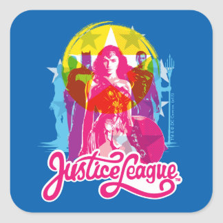 Justice League | Retro Group & Logo Pop Art Square Sticker