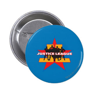 Justice League Silhouettes and Star Background 6 Cm Round Badge