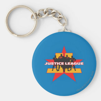 Justice League Silhouettes and Star Background Keychain