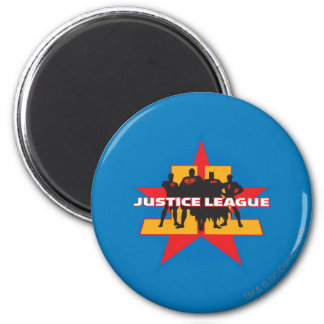 Justice League Silhouettes and Star Background 6 Cm Round Magnet