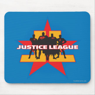 Justice League Silhouettes and Star Background Mouse Pad