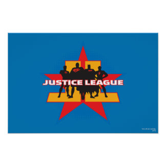 Justice League Silhouettes and Star Background Poster