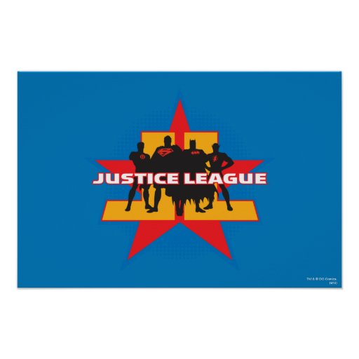 Justice League Silhouettes and Star Background Print