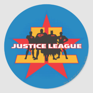 Justice League Silhouettes and Star Background Round Sticker