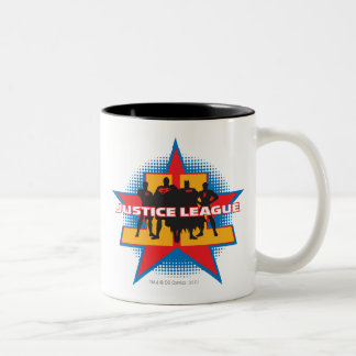 Justice League Silhouettes and Star Background Two-Tone Mug