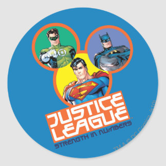 """Justice League """"Strength in Numbers"""" Round Sticker"""