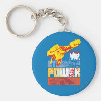 Justice League Strength. Power. Courage. Character Basic Round Button Key Ring