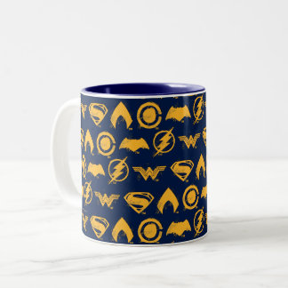 Justice League | Stylized Team Symbols Lineup Two-Tone Coffee Mug