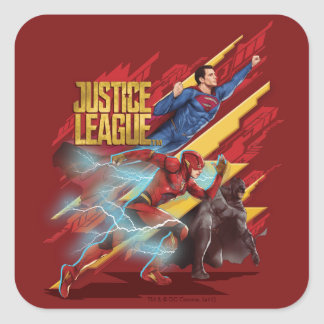 Justice League | Superman, Flash, & Batman Badge Square Sticker