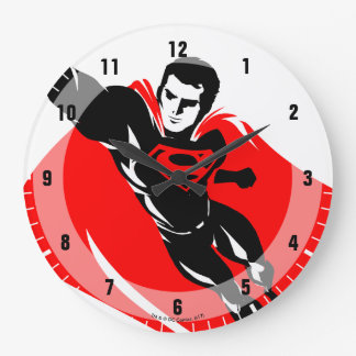 Justice League | Superman Flying Noir Pop Art Large Clock