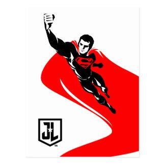 Justice League | Superman Flying Noir Pop Art Postcard