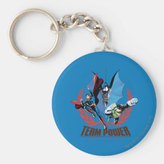 Justice League Team Power Basic Round Button Key Ring