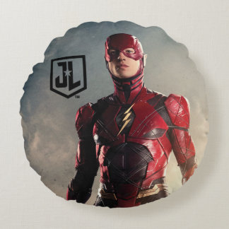 Justice League | The Flash On Battlefield Round Cushion