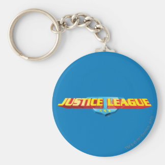 Justice League Thin Name and Shield Logo Basic Round Button Key Ring