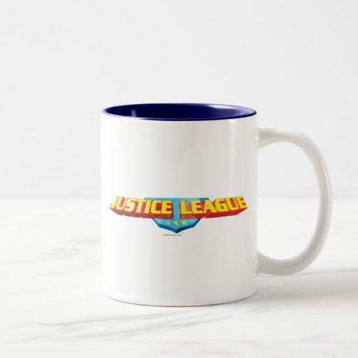 Justice League Thin Name and Shield Logo Coffee Mug