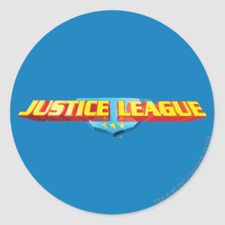 Justice League Thin Name and Shield Logo Round Sticker