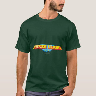 Justice League Thin Name and Shield Logo T-Shirt