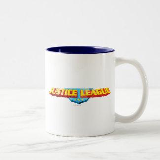 Justice League Thin Name and Shield Logo Two-Tone Mug