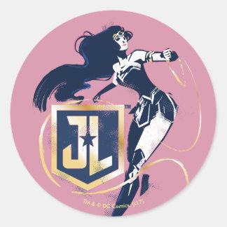 Justice League   Wonder Woman & JL Icon Pop Art Classic Round Sticker