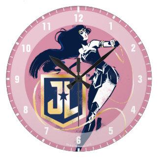 Justice League   Wonder Woman & JL Icon Pop Art Large Clock